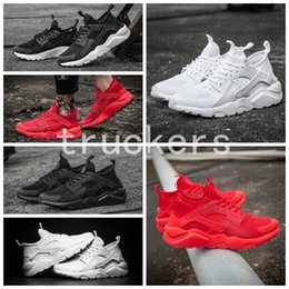 red athletic Promo Codes - 2017 New Air Huarache 4 Running Shoes For Men Women All Red Huraches Ultra Breathe Huaraches Athletic Hurache Sports Sneakers Size 36-46