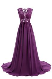 Wholesale Donna Gray Dress - Prom Dresses 2017 Abiti Da Cerimonia Donna V-Neck See Through Purple Chiffon Long Evening Dresses Cheap