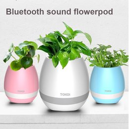 Wholesale Pots Phone - TOKQI Bluetoth Smart Touch Music Flowerpots Plant Piano Music Playing Wireless Flowerpot colorful light Flower pots OTH405