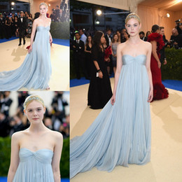 Wholesale Met Dress - 2017 Met Gala Pleated Prom Dresses Long Elle Fanning In Light Sky Blue Strapless Neck Evening Dress Red Carpet Chiffon Celebrity Gowns