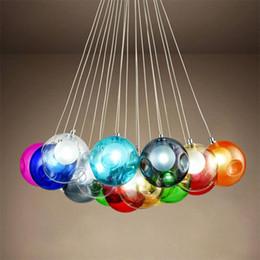 esferas de cristal chandelier Rebajas Bola de cristal colorida lámpara de la lámpara G4 LED 3 ~ 31 cabezas de esferas de vidrio luz moderna Color de la burbuja LED arañas de cristal para sala de estar
