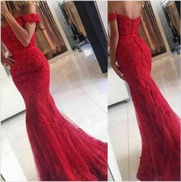 Wholesale Sweetheart Floor Length Feather Dress - 2017 New Red Lace Mermaid Prom Dresses veatidos off Shoulder Beaded Appliques Tulle Floor Length Long Evening Gowns