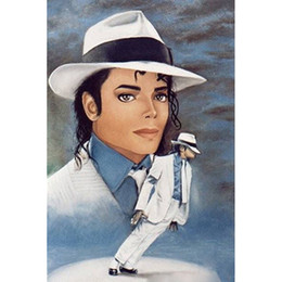 Wholesale Michael Diamonds - Michael Jackson Full Drill DIY Mosaic Needlework Diamond Painting Embroidery Cross Stitch Craft Kit Wall Home Hanging Decor