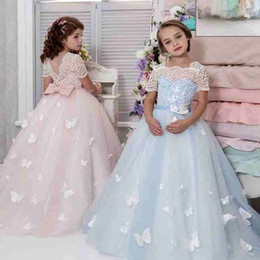 Wholesale Butterfly Christmas Lights - Beautiful Butterfly Flower Girls Dress Sqaure Neck Lace Appliques Bow Short Sleeve Girls Pageant Dresses Lovely Floor Length Birthday Dress