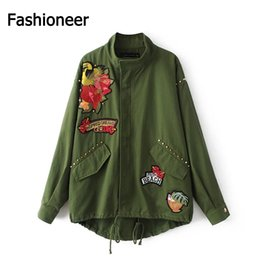 Wholesale Long Floral Skirts Women - Fashioneer 2017 New Arrival Women Army Green Jacket Coats Ladies Oriental Flowers Peacock Embroidered Appliques Loose Punk Jacket Coat