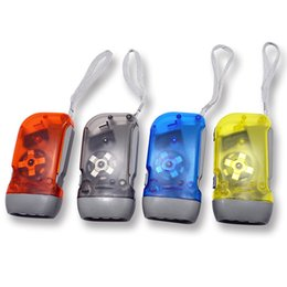 Wholesale Led Battery Light Color - 3LED Hand Press Camping light Torches Energy-saving Flashlight No Battery Dynamo Night Light Outdoor Hand Press Crank Mixed Color 3004017