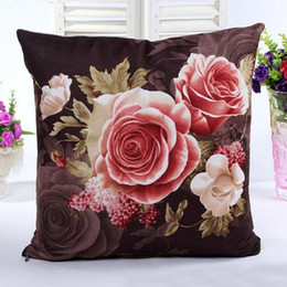 Wholesale Room Chair Covers - Wholesale- Vintage Decorative Home Cotton Linen Pillow Case Cover Living Room Bed Chair Seat Waist Throw Cushion Rose Flowers Pillowcases