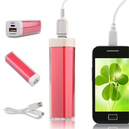 Wholesale Lipstick Backup Battery - 2600mAh mini lipstick Power Bank universal USB External Backup Battery for all mobile phone iPhone samsung htc ect cell phone