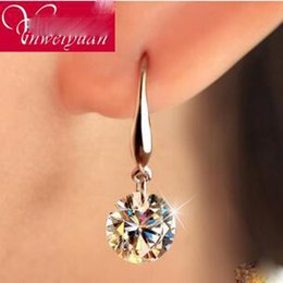 Wholesale Earring White - Fahionable Korean Explosion Bridal 925 Sterling Silver Earrings Europe The US And Switzerland Big Loose Diamond Ear Ms Upscale Bridal Jewel