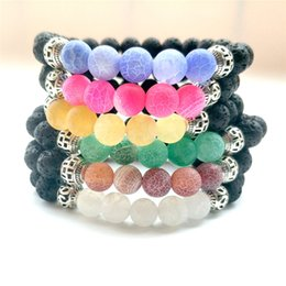 2019 piedra azul china Lava Rock Beads Bracelets 8 mm Volcanic Lava Yoga Bracelet Nueva llegada 7 colores Lava Rock Women Bracelets