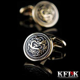 Wholesale Mens Button Jewelry - KFLK 2017 Luxury shirt cufflink for mens gift Brand cuff button Chinese Dragon cuff link Gold High Quality abotoaduras Jewelry
