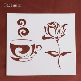 Album di carta plastica online-Regalo Facemile Rose Flower Tazza di caffè Stencil stencil in plastica per album di foto album di carta fai da te scrapbooking