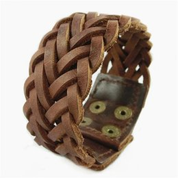 Wholesale China Wholesale Weave - Vintage Genuine Leather Men Bracelets Punk Handmade Braided Wide Cuff Rope Bracelet Woven Wristband Bangles For Men Jewelry
