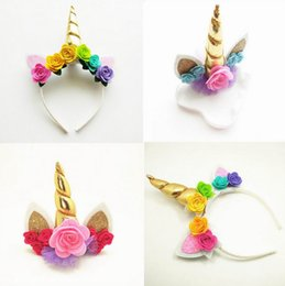 Wholesale Roses Stick - Retail Gold Unicorn Hairbands with Ear and Felt Rose Flower Animal Party Stretch Headband and hair Clips Girls Gift E087