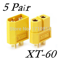 Wholesale Helicopter Bullet - Wholesale 5 Pair Of XT60 XT-60 Male Female Bullet Connectors Plugs For RC Lipo Battery Quadcopter Multicopter Free Shipping