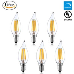 Wholesale E12 Candelabra - C32 LED Candelabra Bulb 4W,2700K 400LM Dimmable E12 Flame Filament Light,2 Years Guarantee Energy Saving UL Listed-(Pack of 6)