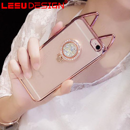 Wholesale Cat Ears Iphone Cases - new 3D Ear Cat Cover Electroplating Crystal Clear Soft TPU Phone Cases Cover With Diamond Ring case For iphone 7 plus 6s plus