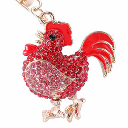 Wholesale Jewelry For Cock - Novelty Crystal Cock Rooster Chicken Key chain Rhinestone Keychain Animal Metal Keyring For Women Bag Pendant Jewelry PWK0333