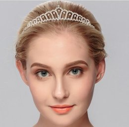Wholesale Head Comb Jewelry - Pretty Rhinestone Tiara Crown Exquisite Headband Comb Pin Wedding Bridal Birthday Tiaras Bridal Head Pieces Bridal Hair Accessories