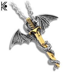 Wholesale Stainless Steel Sword Pendant - Wholesale- Super Personality Cool Stainless Steel Chain Long Pendant Necklace Pterosaur Sword Jewelry Men Necklace Dragon Punk Necklace