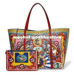 Wholesale Glitter Shop - Top quality 2017 new handbag handbag ladies leather large shopping bag printing summer head layer cowhide bag