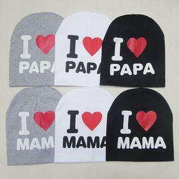 Wholesale Cute Kids Beanies - Fashion Baby Cap Knitted Warm Cotton Toddler Beanie Cute Kids Girl Boy I LOVE PAPA MAMA Print Kid Hats 1-3 Years Old