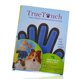 Wholesale Hair For Pets - 2017 True Touch Five Finger Deshedding Glove Pet Grooming Dogs Bath Glove Making Pets Hair Cleanup For All Dogs & Cats