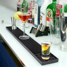 Wholesale Silicone Rubber Coaster - 60x8cm Rectangle Rubber Beer Bar Service Spill Mat for table black waterproof pvc mat kitchen glass coaster placemat free ship