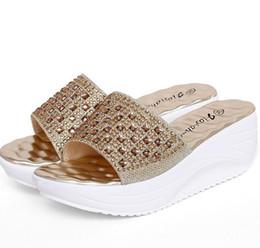 Wholesale Comfortable Wedges Sandal - New gold sliver rhinestone women slippers 2016 sandalias summer wedge platform sandals fashion comfortable slides shoes woman