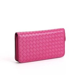Wholesale Leather Long Billfolds - 2017 New Classical Fuchsia Genuine Leather Knitting wallet Famous Brand Zipper Lady wallet grace women long-style Casual billfold