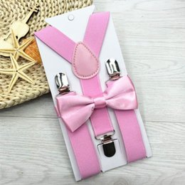 Wholesale Boys Yellow Bowtie - Adjustable and Elasticated 13 Colors Kids Suspenders With Bowtie Bow Tie Set Matching Ties Outfits Hot Suspender For Girl Boys