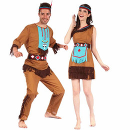 Wholesale Adult Indian Costumes - 2017 New Adults Kids Original Indian Savage Costume Family Wild Man Cosplay Costumes Halloween Carnival Fancy Dress Supplies