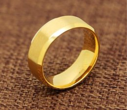 Wholesale 24k Gold Plated Wedding Bands - AAAAA quality ring lover Stainless Steel 24K Yellow-Gold-Plated 9mm Plain Men's and Women's Wedding Band Ring Engagement US Size wedding
