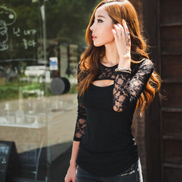 Wholesale Open Flare - Wholesale-Feitong Women Lace T Shirts Sexy Open Chest O-Neck Long Sleeve Lady Tee Shirt Femme Camisetas Mujer Casual Tops Plus Size S-XXXL