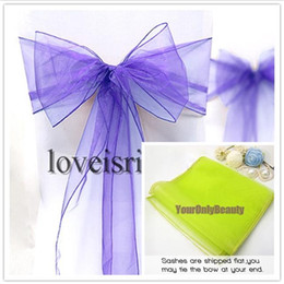 Wholesale Organza Ribbon Favor - 20 colors--25pcs 20cm x 275cm Wedding Favor Sheer Organza Chair Covers Sashes Ribbons Bow Party Banquet Event