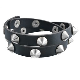Wholesale Metal Spikes Studs - Wholesale-Gothic Punk Metal Cone Stud Spikes Rivet Leather Bracelet Wristband Cuff Bangle Cool Men Women Multilayer Bracelet