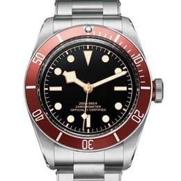 O vencedor assiste vermelho on-line-Red Tudorrr Mens Watch Movimento Automático em Aço Inoxidável Mecânica Red Bezel Black Dial Sólidos Fecho Geneve Relógios