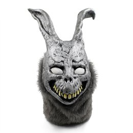 Wholesale halloween costumes men funny - Funny Halloween Donnie Darko FRANK the Bunny Rabbit MASK Latex Overhead with Fur Adult Costume Animal Masks For Party Cosplay