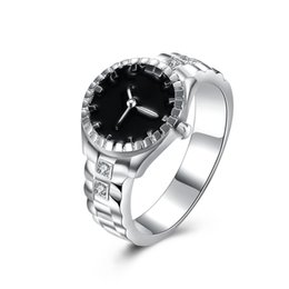 Wholesale Wholesalers For Rings Watches - Trendy 925 silver Luxury Crystal Ring clock Watch Band shaped Finger Zircon Ring for Women Big Size 7 8 R887