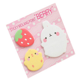 Wholesale Sticker Memo - Wholesale- Kawaii Cute Planner Korean Rabbit Animal Sticky Notes Memo Pad Flake Sticker Note Pads Offce School Supplies Student Stationery