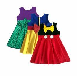 Wholesale Kids Hero Halloween Costumes Girls - Super Hero Girls Dresses Children Mermaid Snow White Dresses with Big Bow New Kids Cosplay Costume
