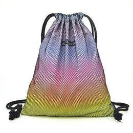 Wholesale Drawstring Backpack Green - Wholesale- 2017 new gradient panelled printing draw string waterproof nylon pocket beam backpack women men Travel Shopping Drawstring Bag