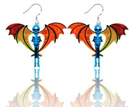 Wholesale Wholesale Mexican Earrings Cheap - Fashion Colored Exaggerated Long Section Jewelry Earring skull bat wings Earrings Cheap Mix Wholesale Free Shipping