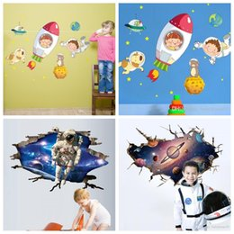 Wholesale Kindergarten Wall Decals - 4 5hy4 Wall Decals Universe Outer Space Walls Sticker Kindergarten Background Decoration 3D Stickers Mural Paintings For Bedroom Decor R