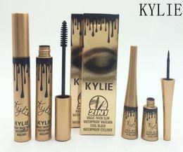 Wholesale Gold Gel Eyeliner - Kylie Gold Birthday Cosmetics Makeup 3D Fiber EyeLashes Extension Mascara + Gel Eyeliner 2 in 1 Set Waterproof Mascara Eyeliner 120pcs DHL