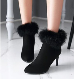 Wholesale Real Injection - New Arrival Hot Sale Specials Super Fashion Influx Martin Knight Popular Real Rabbit Hair Cowgirl Sweety Formal Party Heels Boots EU34-43