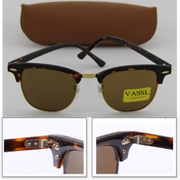 Wholesale Gold Glass Sunglass - Designer Vassl Sunglasses New Tortoise Gold Hinges Frame Men Sun Glasses Women Semi Rimless Retro UV400 Protection Sunglass 51mm 49mm