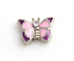 Wholesale Butterfly Locket Pendant - Wholesale 20PCS lot Animal Butterfly Floating Locket Charms Fit For DIY Alloy Magnetic Living Locket Pendant