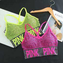 Wholesale Sportswear Volleyball - Yoga Shirt love Sports Bra Padded Yoga Top Tank pink Running Shirt Ladies Sportswear women's trackssuits Gym Shirt Women Yoga Clothing