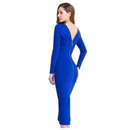 Wholesale Dress Autunm - 2017 Free shipping Autunm Spring Womens Fashion Elegant Sexy Long Sleeve Sheath Stretch Slim Club Pencil Bandage Bodycon Dress